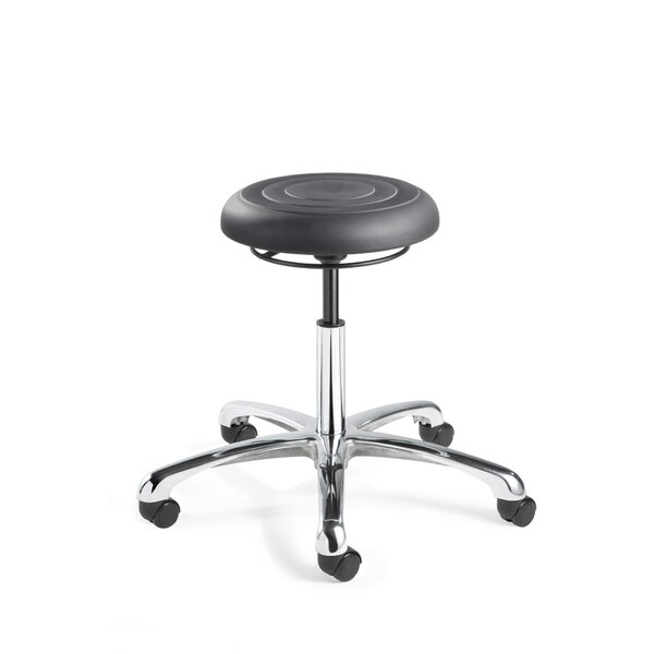 ErgoLux Height Adjustable Backless Stool with Dual-Wheel Hard Floor Casters by BEVCO