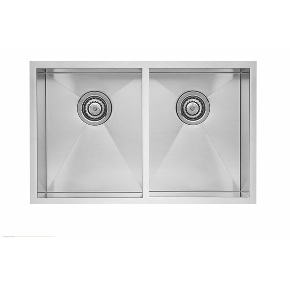 Quatrus 32 L x 18 W Equal Double Bowl Sink by Blanco