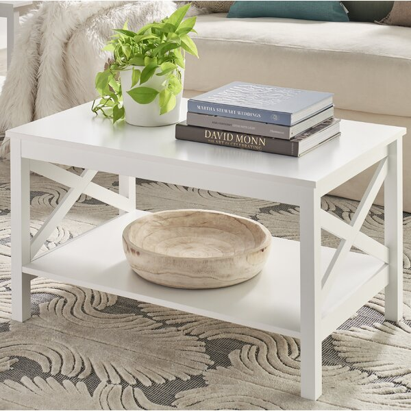 Low Price X-Frame Two-Tier Coffee Table With Storage