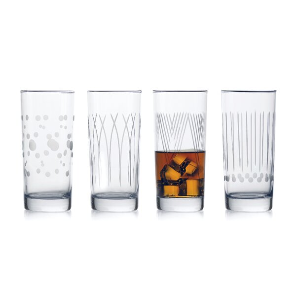Dimick Cooler 4-Piece 15.25 oz. Glass Highball Glasses Set (Set of 4) by Ebern Designs