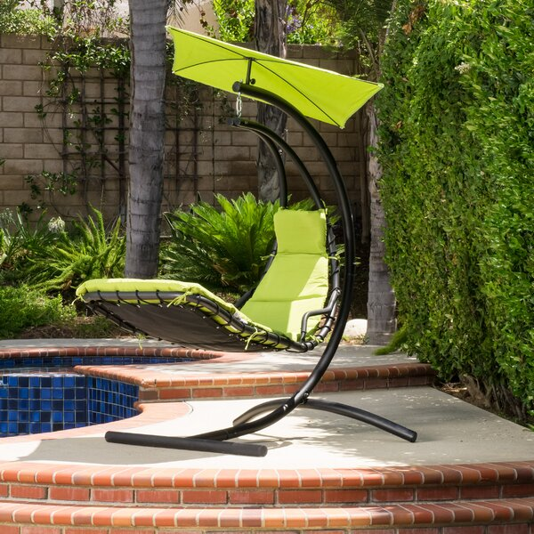 Leon Polyester Hanging Chaise Lounger with Stand by Freeport Park