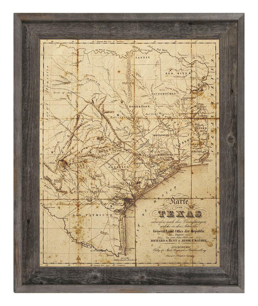 Click Wall Art \'Sepia Texas Map\' Framed Graphic Art & Reviews | Wayfair
