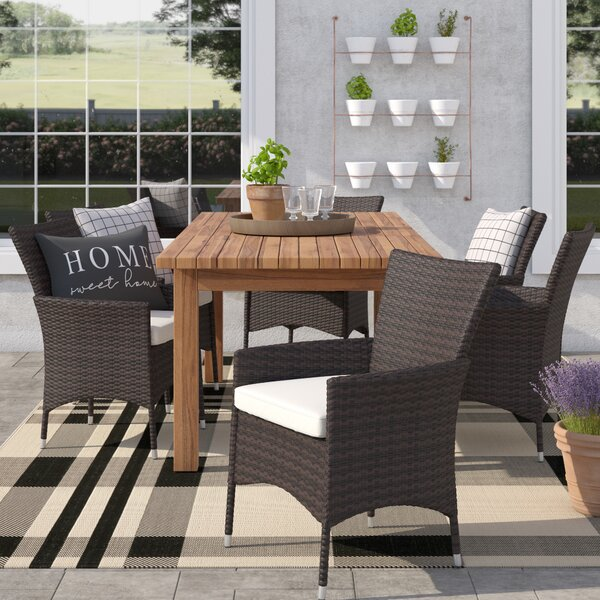 Woodhouse 7 Piece Extendable Dining Set with Cushions