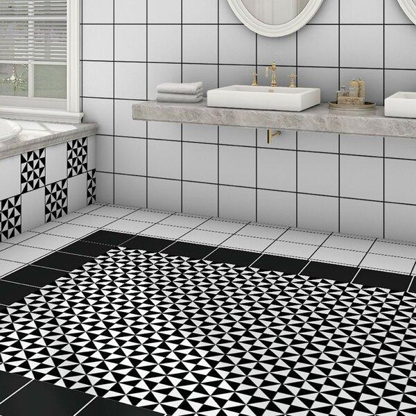 Chelsea 9.75 x 9.75 Porcelain Field Tile in Black/White by EliteTile