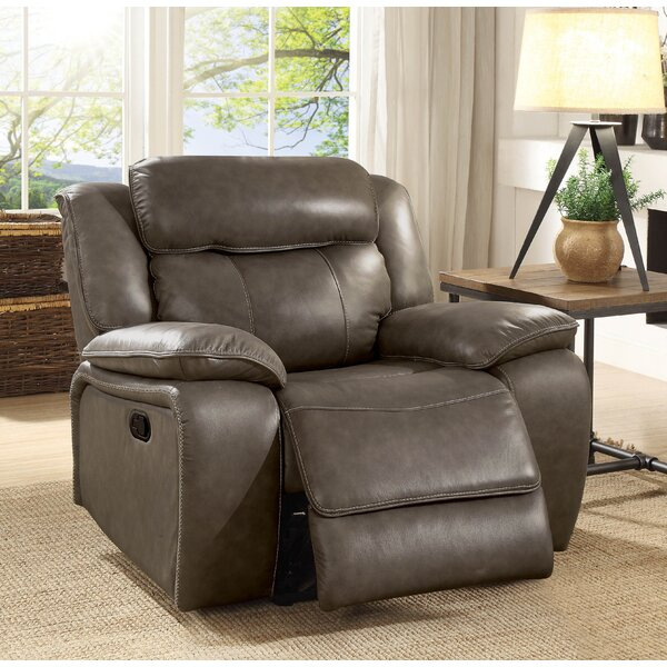 Rangel Leather Manual Glider Recliner by Loon Peak