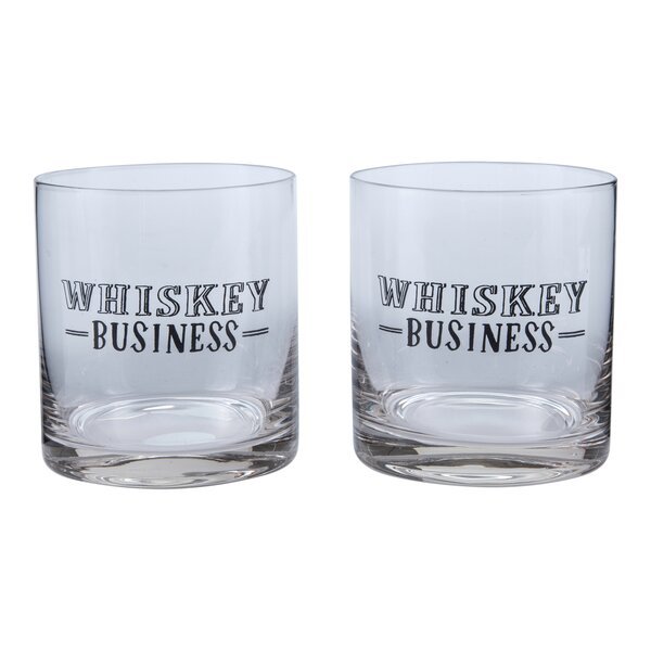 Whiskey Business Lowball 12 Oz. Old Fashioned Glass (Set of 2) by Plum and Punch