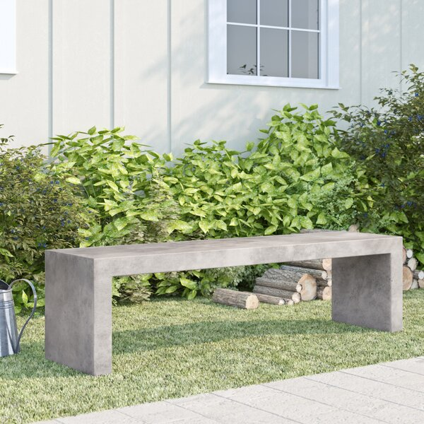 Colegrove Backless Concrete Garden Bench by Foundry Select