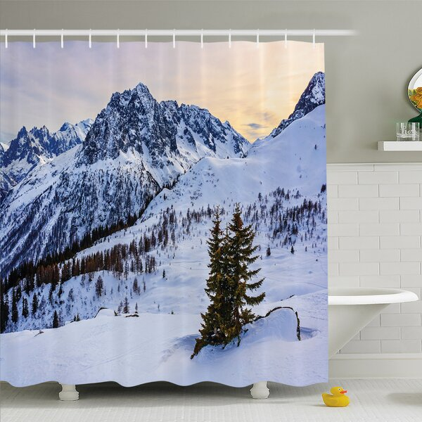 Nash Landscape of Snowy Mountain at Sunset Pine Trees Tranquil in Winter Theme Shower Curtain Set by Latitude Run
