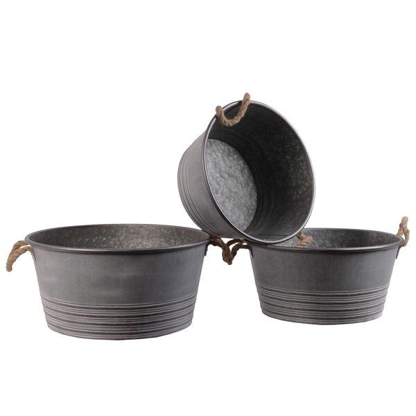 Mazurek Round Ribbed Banded Rim Bottom 3-Piece Metal Pot Planter Set by Gracie Oaks