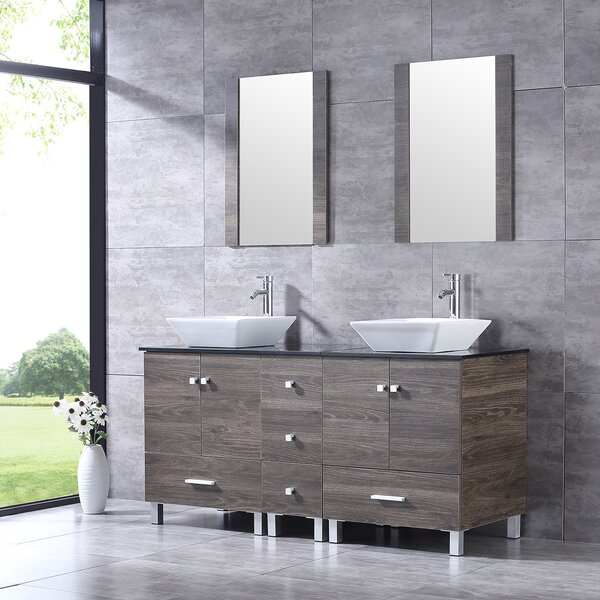 Barbonne 60'' Double Bathroom Vanity with Mirror