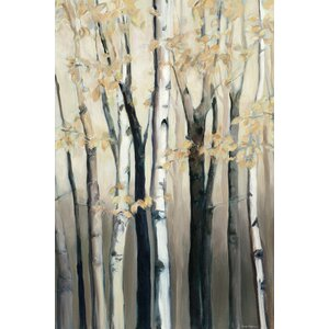 Golden Birch I Painting Print on Wrapped Canvas by Red Barrel Studio