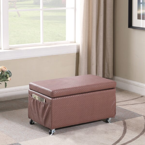 Cian Basketweave Faux Leather Storage Bench by Winston Porter