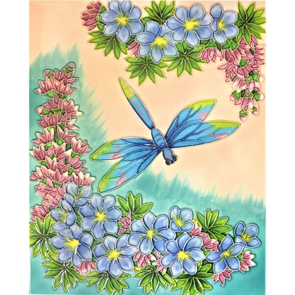 11 x 14 Ceramic Dragonfly Decorative Mural Tile by Continental Art Center
