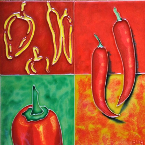 Gridded Peppers Tile Wall Decor by Continental Art Center