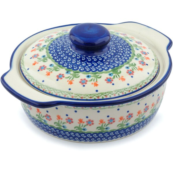 Spring Flowers Round Non-Stick Polish Pottery Baker with Cover and Handles by Polmedia