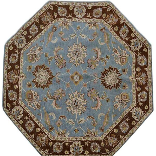 Samual Oriental Hand-Tufted Wool Blue/Brown Area Rug by World Menagerie