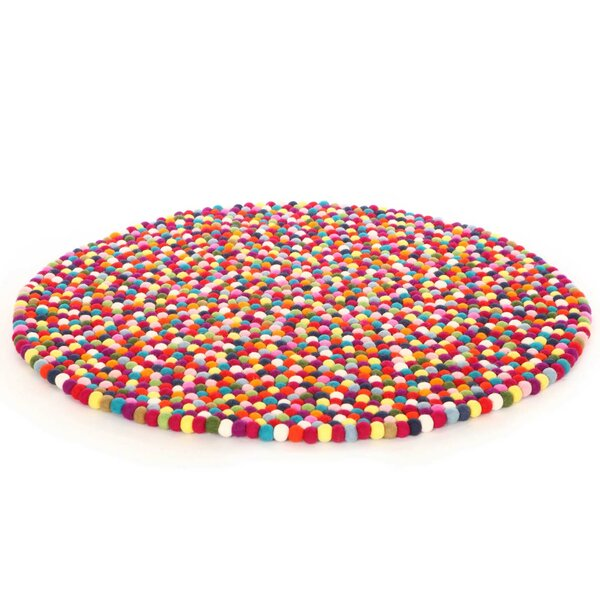 Happy as Larry Original Felt Ball Kids Round Rug by Walk On Me