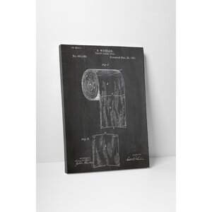 Patent Prints Toilet Paper Roll Graphic Art on Wrapped Canvas by Pingo World