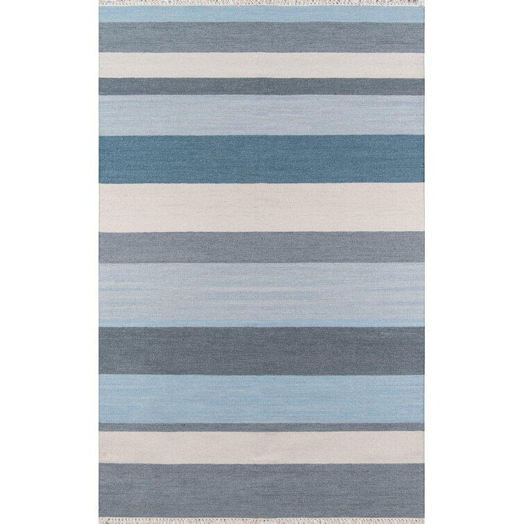 Thompson Striped Handmade Flatweave Wool Blue Area Rug