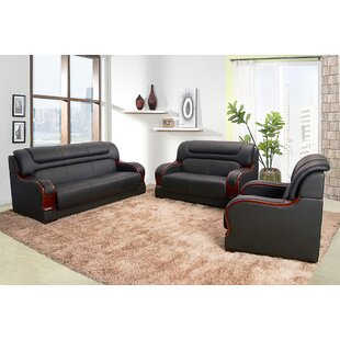 Galini 3 Piece Leather Standard Living Room Set by Red Barrel Studio®
