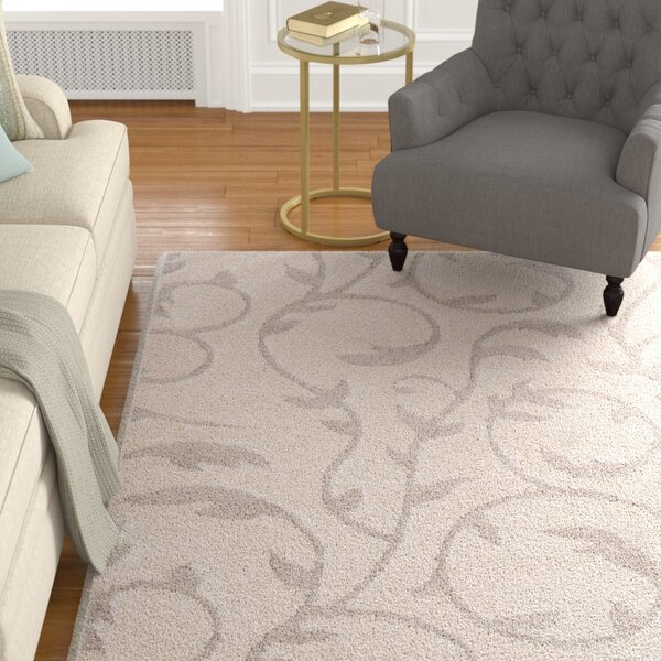 Arlen Floral Cream/Tan Area Rug by Charlton Home