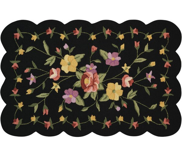 Cherie Black/Green Area Rug by August Grove