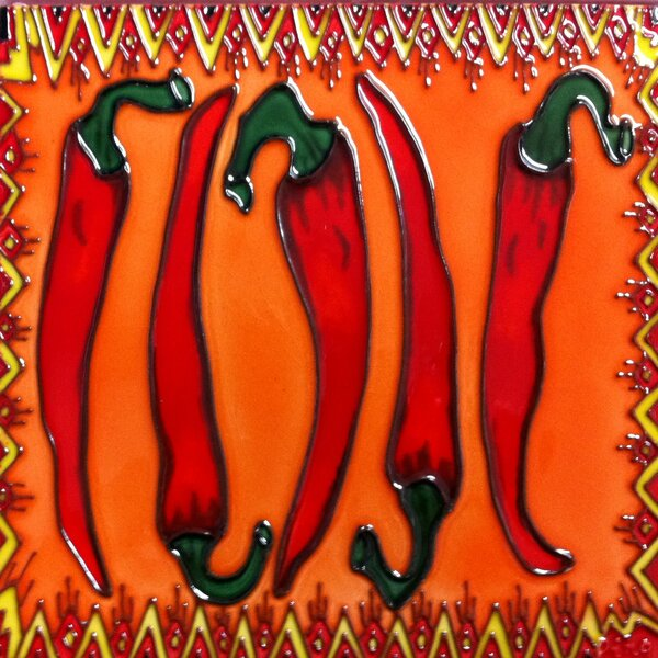 Red Chili Pepper Tile Wall Decor by Continental Art Center