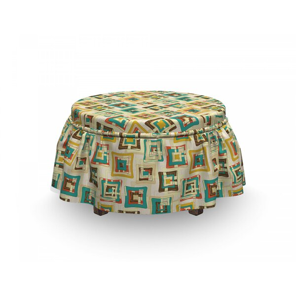 Geometric Surreal Puzzle Shape 2 Piece Box Cushion Ottoman Slipcover Set By East Urban Home