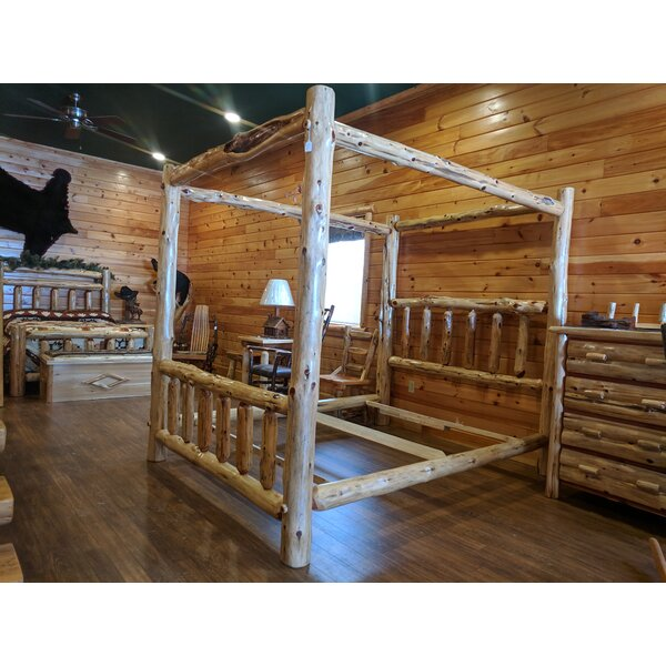 Gravesend Cedar Log Storage Canopy Bed by Loon Peak
