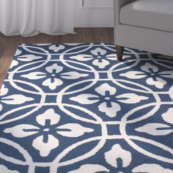 Berchmans Hand-Hooked Navy/Ivory Area Rug by Red Barrel Studio