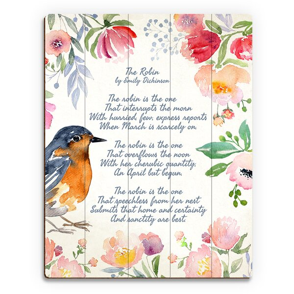 The Robin Textual Art on Plaque by Click Wall Art