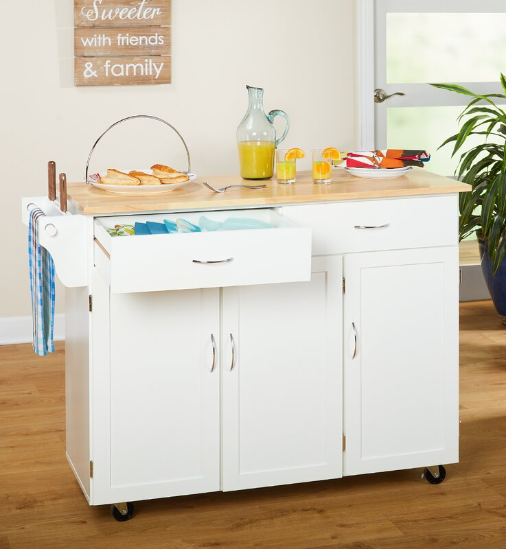 Alcott Hill Sayers Kitchen Island with Wood Top & Reviews   Wayfair