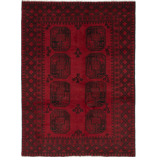 One-of-a-Kind Bridges Traditional Hand-Knotted Dark Burgundy Area Rug by Bloomsbury Market