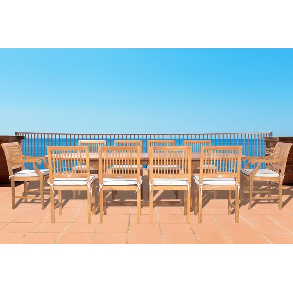 Dayne 11 Piece Teak Dining Set with Sunbrella Cushions by Bay Isle Home