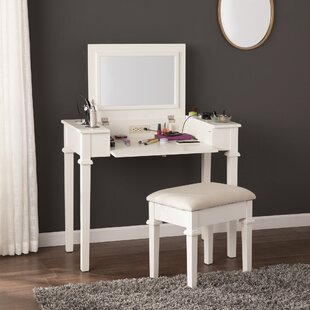 vanity desk without mirror. Hutchens Vanity Set With Mirror Desk Without  Wayfair