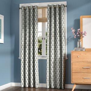 Zaha Ikat Geometric Semi-Sheer Grommet Curtain Panels (Set of 2)