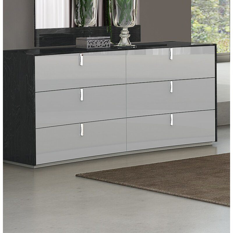Orren Ellis Trahan 6 Drawer Double Dresser With Mirror Reviews Wayfair