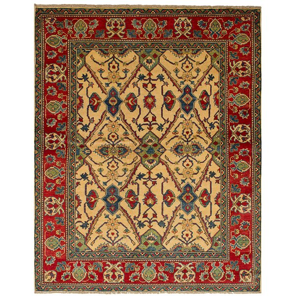 One-of-a-Kind Bernard Hand-Knotted Wool Cream/Red Indoor Area Rug by Bloomsbury Market