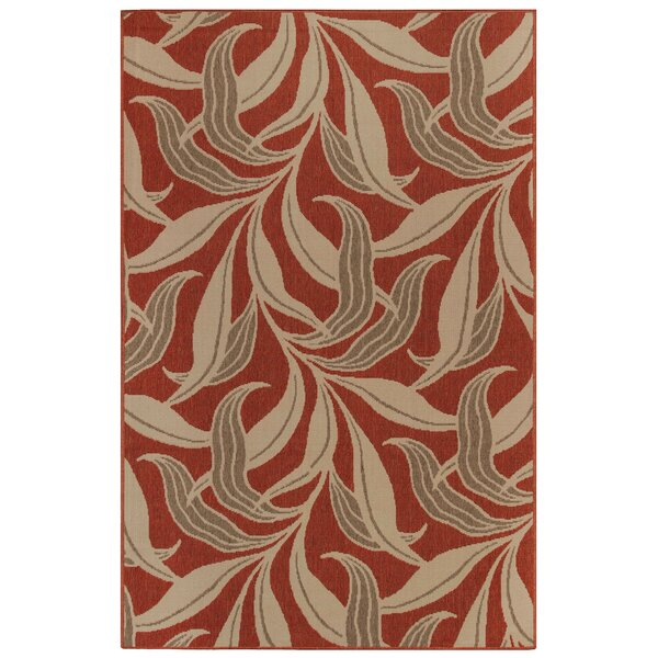 Mario Leaf Red Indoor/Outdoor Area Rug by Bay Isle Home