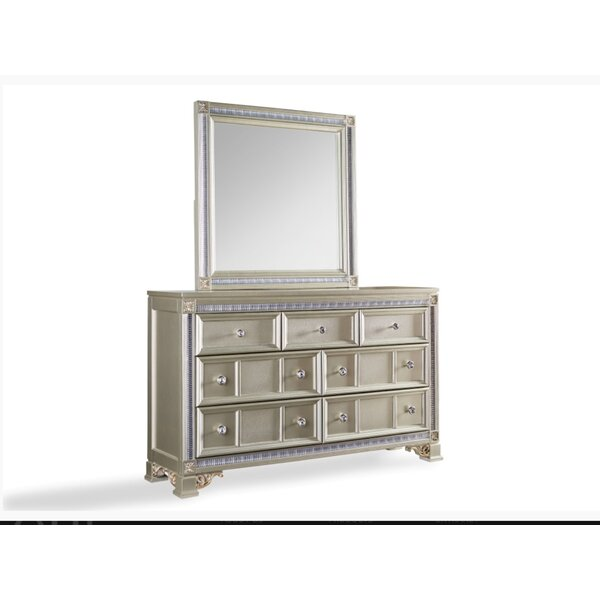 Chumbley 7 Drawer Double Dresser with Mirror by House of Hampton