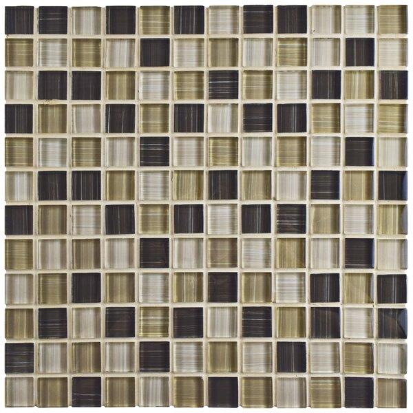 Sierra 0.88 x 0.88 Glass Mosaic Tile in Brown/Cream by EliteTile