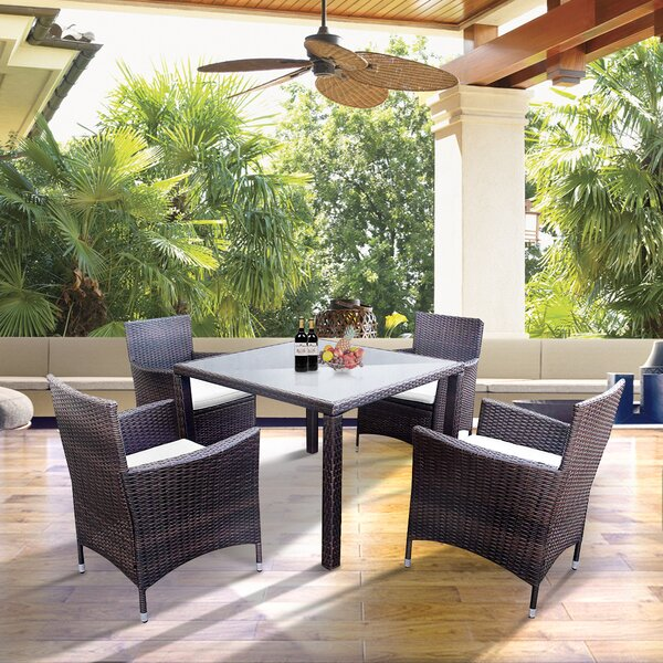 Shirlene 5 Piece Dining Set with Cushions by Highland Dunes