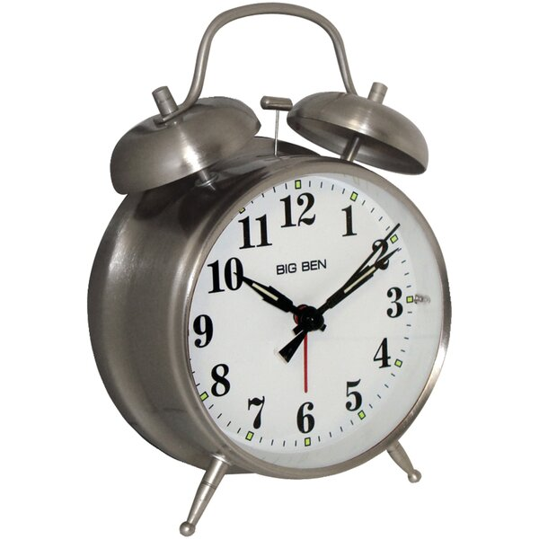 Metal Twin Bell Alarm Tabletop Clock by Charlton HomeMetal Twin Bell Alarm Tabletop Clock by Charlton Home