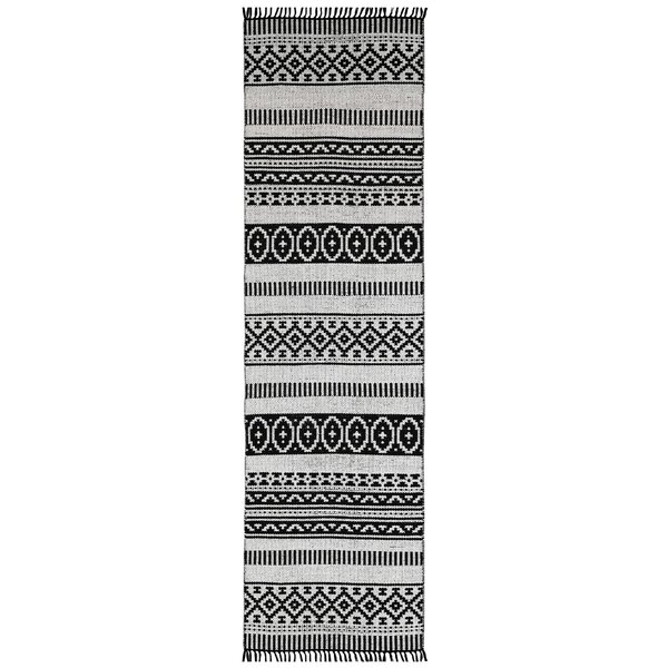 Complex Hand-Woven Black/White Area Rug by St. Croix