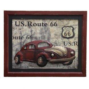 Metal Car Route 66 Wall Décor