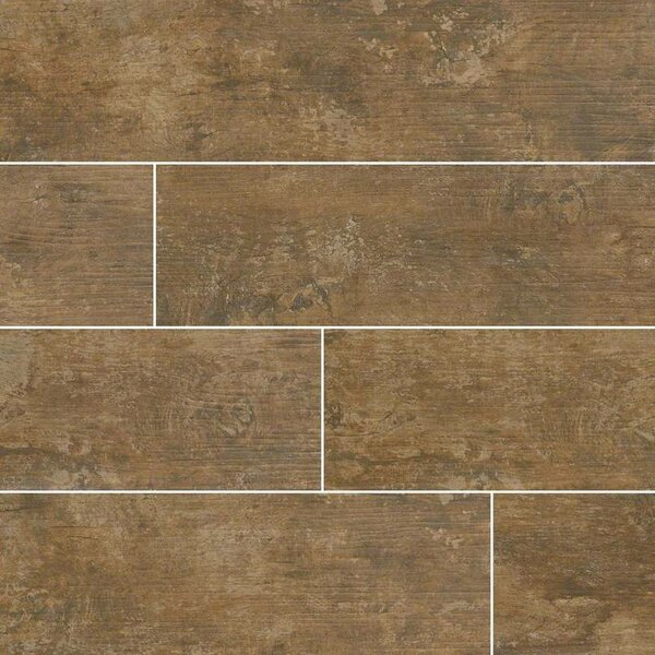Ecowood Tungsten 6 x 24 Porcelain Wood Look Tile in Brown by MSI