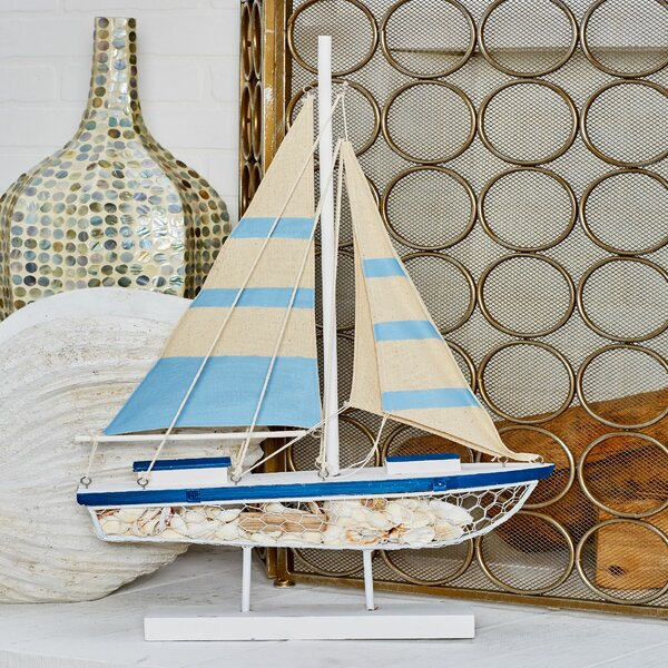 Flintwood Coastal Sailboat Sculpture by Longshore Tides