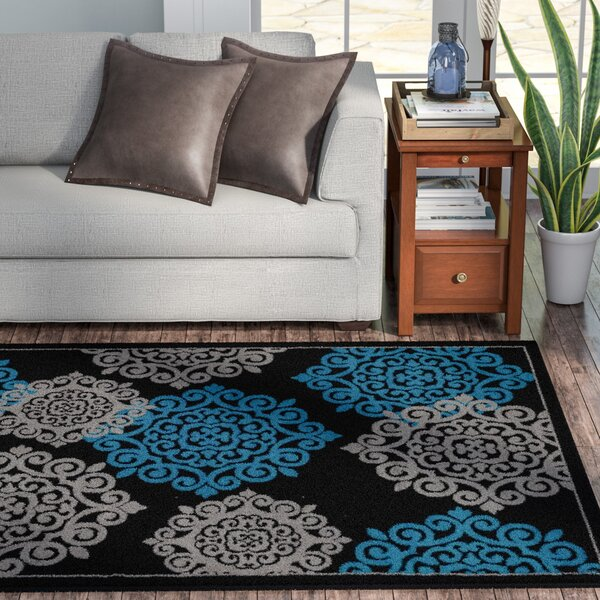 Alanson Turquoise/Black Indoor/Outdoor Area Rug by Winston Porter