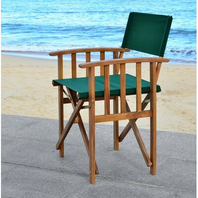 Ines Folding Patio Dining Chair Beachcrest Home Color: Teal Look/Green