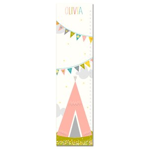 Pink Tee Pee and Flag Bunting Personalized Canvas Growth Chart by Finny and Zook